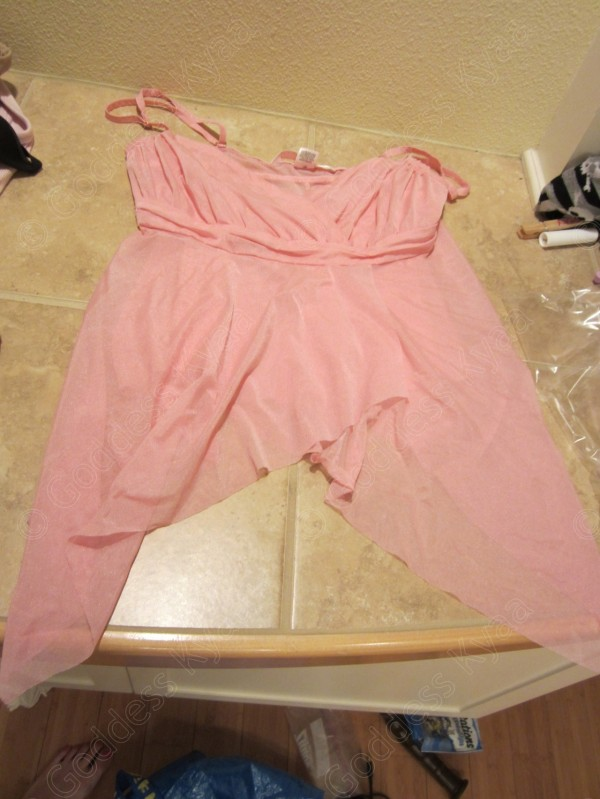 "Some random sissy clothes. I've never worn this, I threw it in the ""for sissies"" bin right after some bitch bought it from my wishlist. Now it's sissysplosh's new pink sissy top."