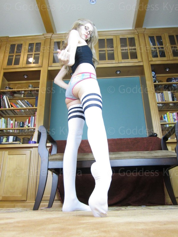 Drool over my cute size 9 feet in these adorable thigh high socks, weakling!