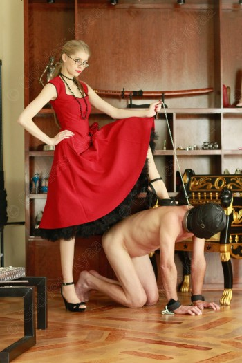 My heel on his back has he bows on his hands and knees before me. An image that will be burned into your weak mind!