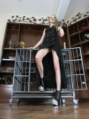 Grovel before me and beg to be locked in my cage!