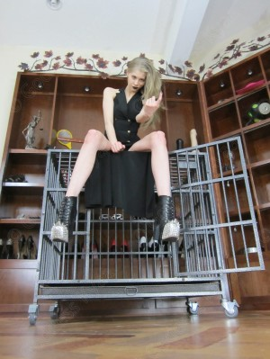 Are sure you want be locked up by such a sadistic Goddess? Come closer if you dare, slave.
