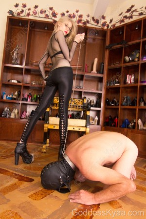 My permanently collared slave grovels at my feet.