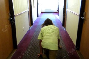 Crawling to his hotel room.