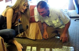 Teaching my bitch to count his cash.