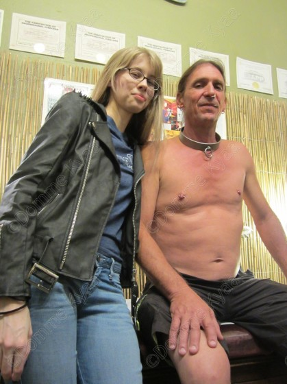 My slave was so nervous, and the pain on his face when his nipples were pierced was so lovely. But I'm sympathetic to my slave's stress, and proud of his overcoming his fears to obey my command and submit to being pierced.