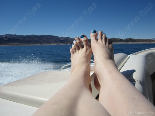 My toes off the end of the boat look so pretty in the sun.