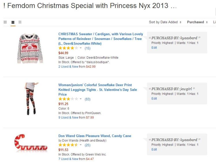 3 items are already on the way! Get shopping, slaves.