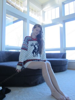 Christmas sweaters have never been so sexy, eh?