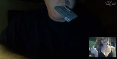 Piggy oinking with his credit card in his mouth