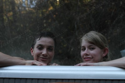 The air was below freezing, but that doesn't matter when you're soaking in a hot tub!